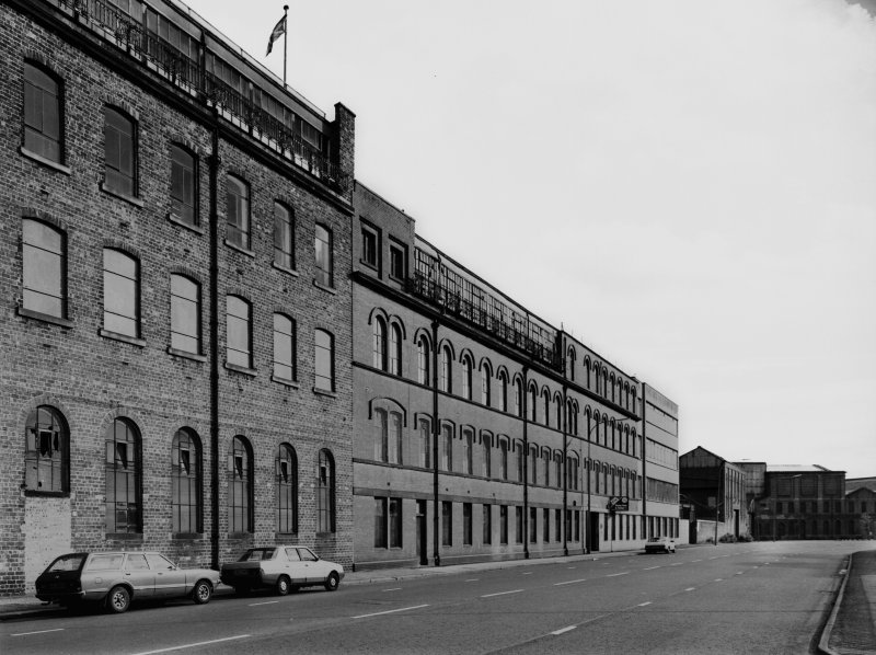 View from north west of Arrol's Dalmarnock Works, Glasgow showing the Dunn Street facade of the works containing the company's offices