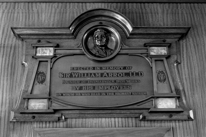 Detail of the plaque commemorating the life of Sir William Arrol, situated in the foyer of the offices of the Dalmarnock Ironworks, Glasgow