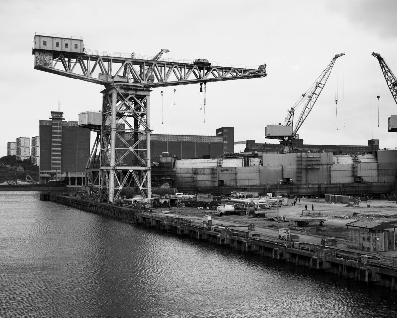 View from south south west across the fitting-out basin of the former Fairfield shipyard in Glasgow (now Kvaerner Govan), showing the Arrol 220-Ton Giant Cantilever Crane (built 1911)