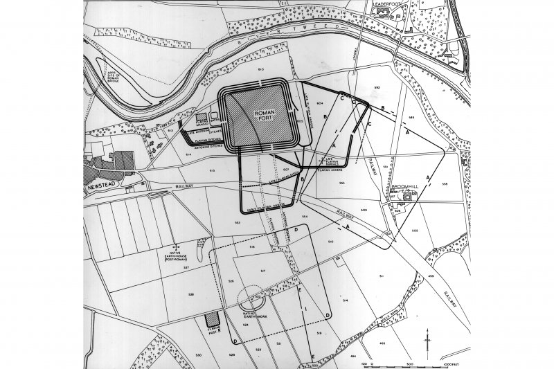 Plan of the forts, temporary camps and native sites at  Newstead   Inventory fig 426 RCAHMS