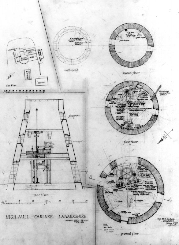 Section and plans of windmill.