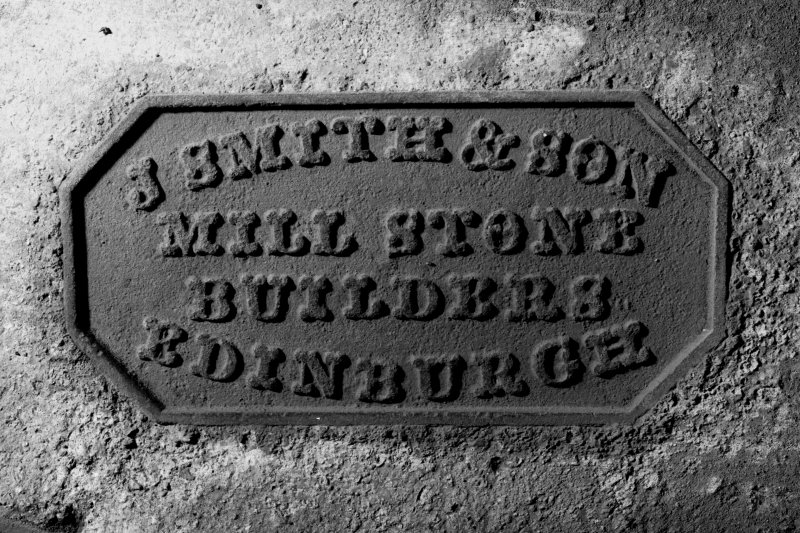 Detail of maker's plate, North East mill-stone, First Floor.