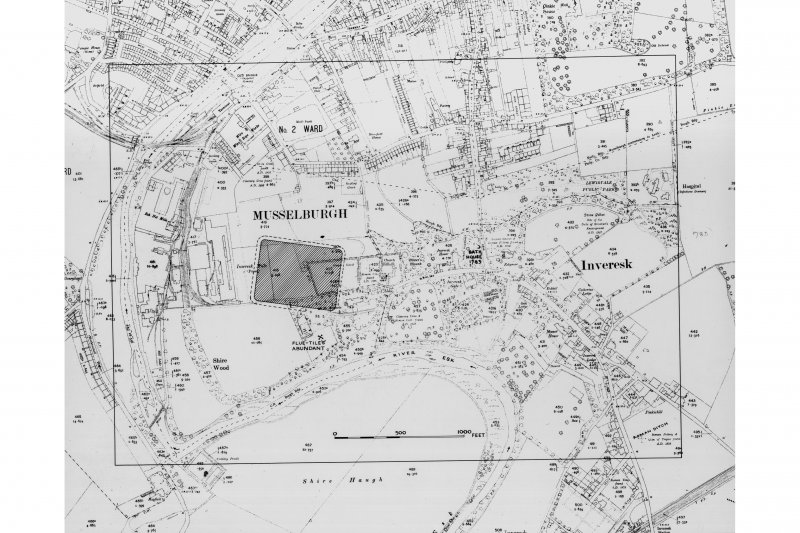 Photographic copy of map showing location of Inveresk Roman Fort.