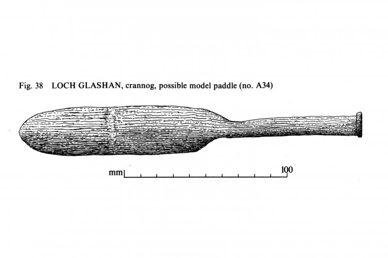 Loch Glashan, crannog, possible model paddle.