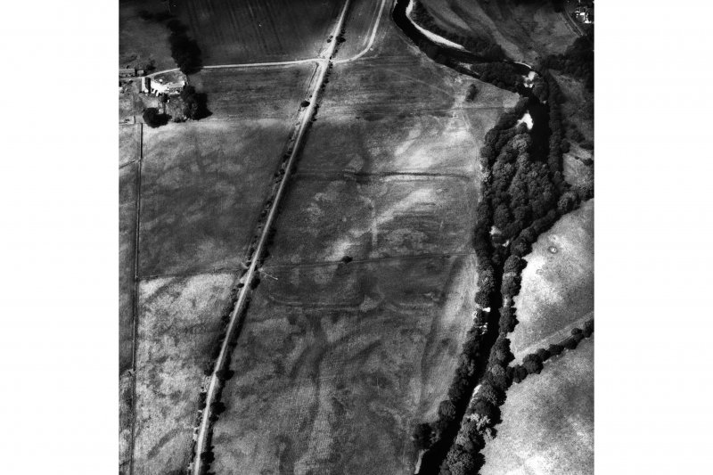 Oblique aerial view of Bochastle Roman Fort and temporary camp.