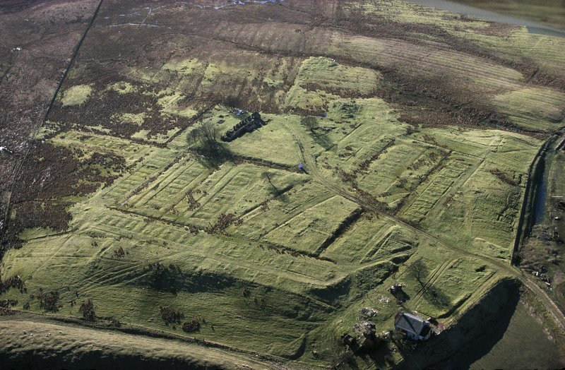 Oblique aerial view of the foundations of Haywood village.