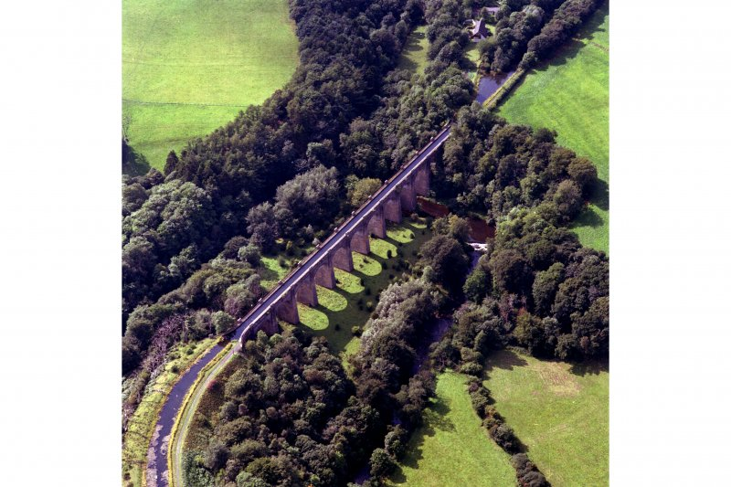 Oblique aerial view of the aqueduct built to carry the Union Canal over the River Avon.