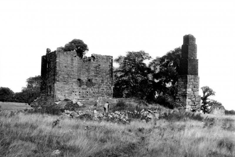View of Skaithmuir Tower, showing the medieval tower and later pumping-house. The site has since been levelled.