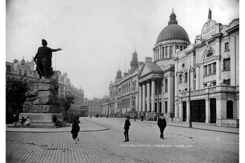 Historic photographic view from E showing the Wallace Statue, His Majesty's Theatre, and the South Church of Scotland.