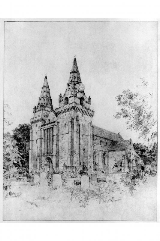 Aberdeen, Chanonry, St Machar's Cathedral. Photographic copy of an illustration of a general view of the cathedral from South-West. Title: 'The Ancient Cathedrals of Scotland - Drawn by Alexander McGibbon. No.3 St Machars's, Aberdeen'.