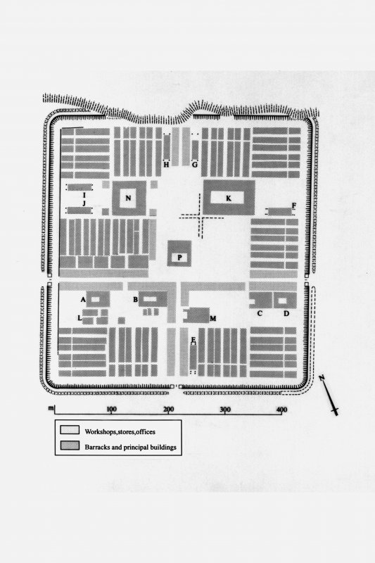 Publication drawing, for reduction. General plan of fortress, indicating buildings of specific types: Inventory p. 79.