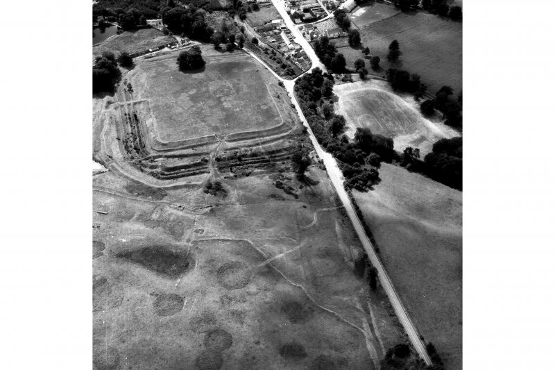 Oblique aerial view of Ardoch Roman Fort.