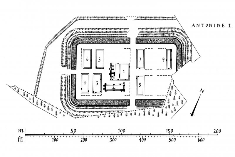 Plans of the different phases of Crawford Roman fort. Lanarkshire Inventory fig. 80