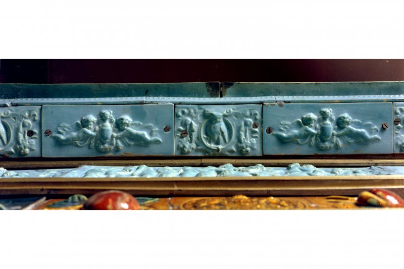 View of interior.  Detail of tiled soffit of fireplace mantel-shelf in Manager's House, Dunmore Pottery