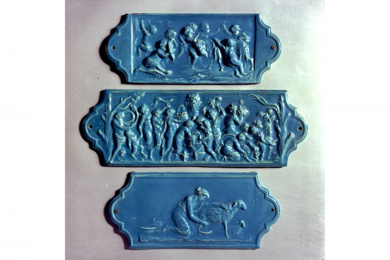 Detail of plaques from ceiling frieze, Dunmore Pottery.