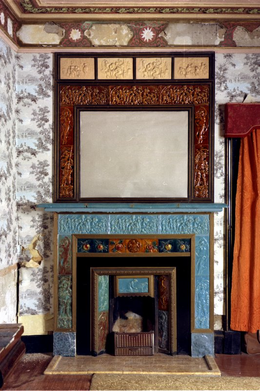Interior view showing detail of fireplace and overmantel in Manager's House, Dunmore Pottery.