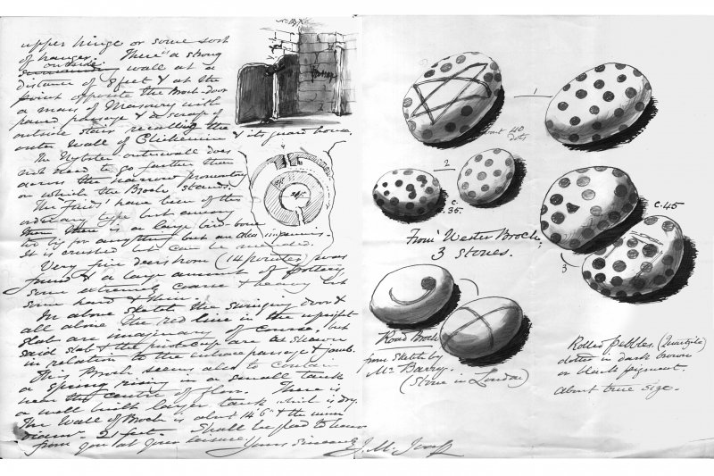 Letter from J M Joass to Dr J Anderson, 30 September 1895, describing excavations at Nybster Broch, Caithness and illustrating painted pebbles found at Wester Broch and Road Broch from the excavations ...
