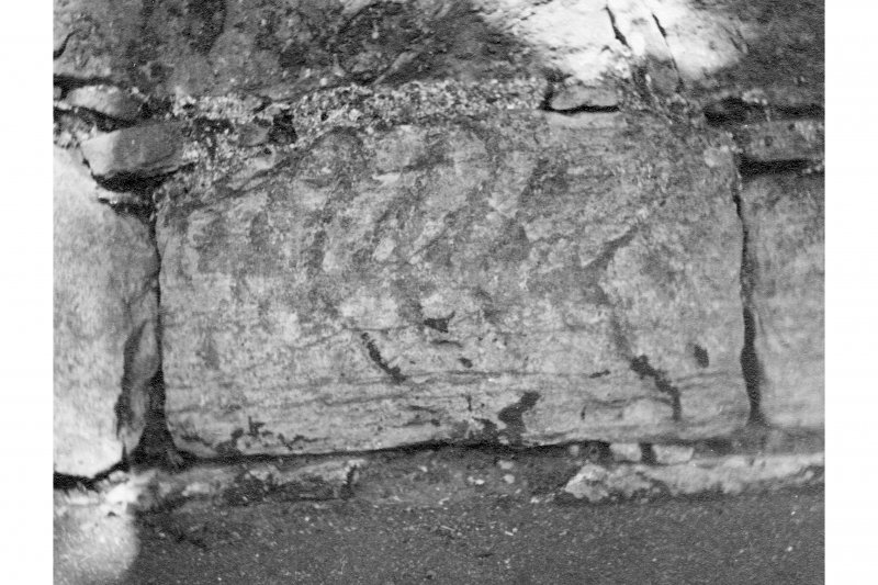Roman Stone found in the wall of Cramond Kirk (NT 18977683)