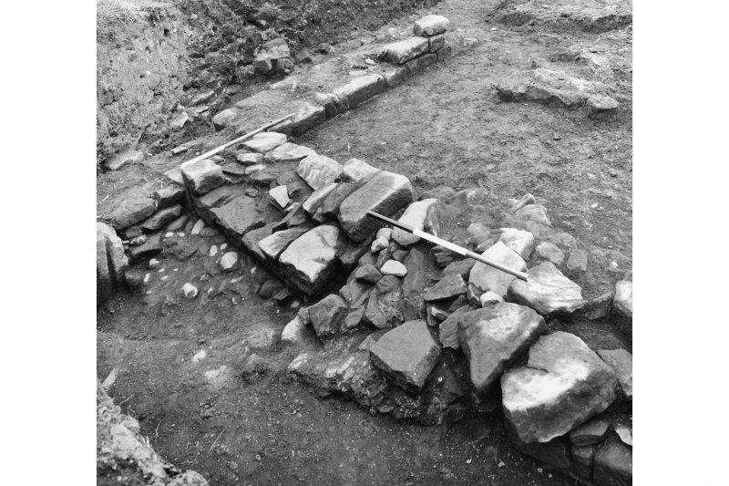 Excavation of Block B - W door with blocking in situ.