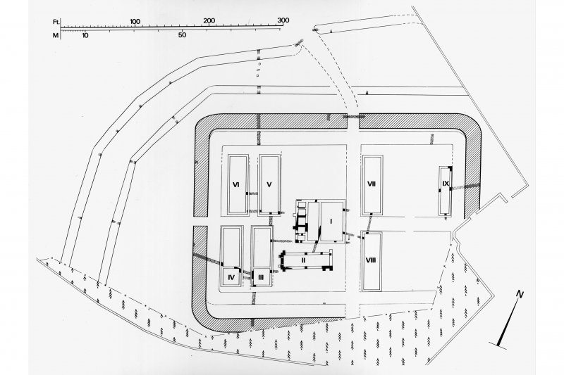 Plan of Crawford Roman Fort during Antonine period II.  PSAS fig 13