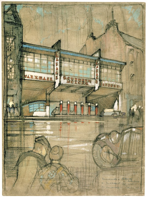 Exhibition drawing in pastel by Basil Spence of a perspective view of the Southern Motors Garage, Causewayside seen from the North West.