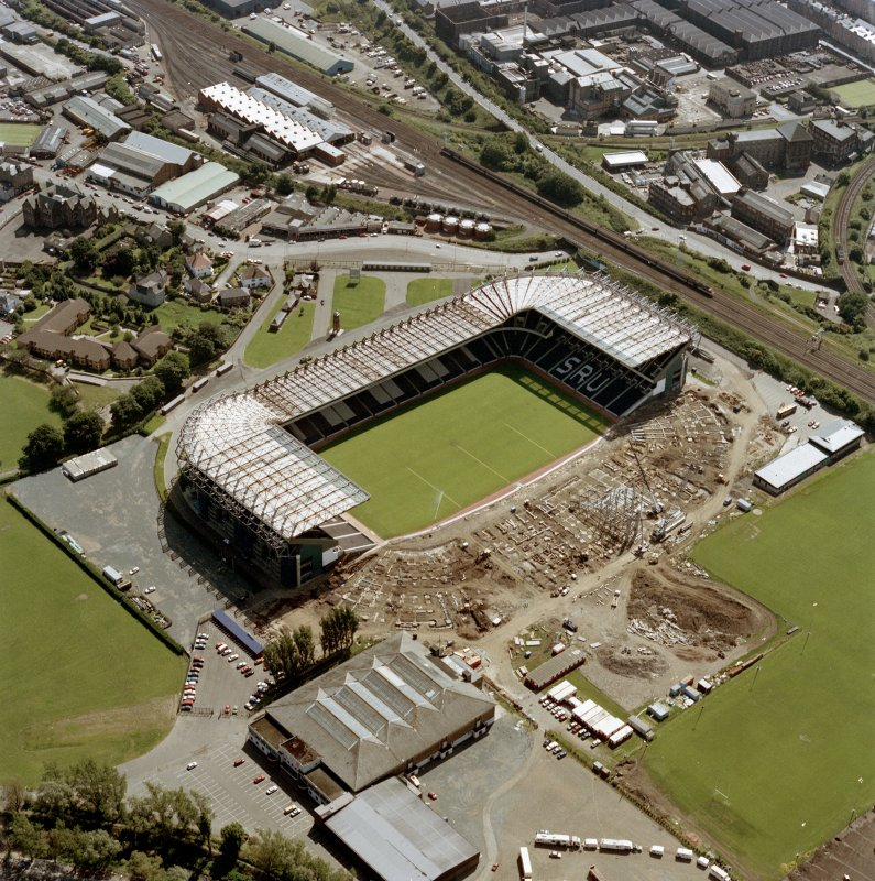 Aerial view of stadium during reconstruction