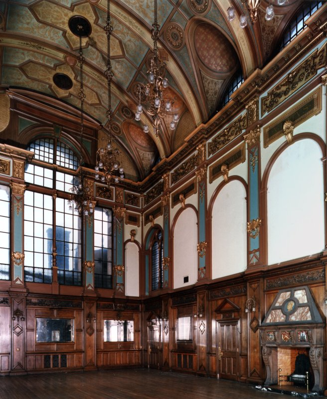 Interior, general view of Great Hall of Craig House from South West.