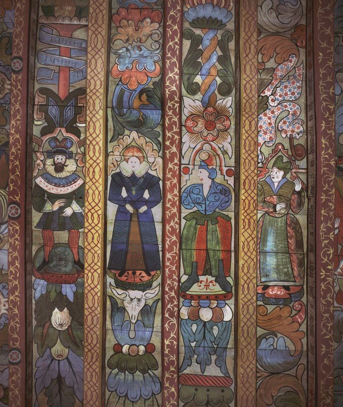 Crathes Castle, detail of painted ceiling in sewing room.