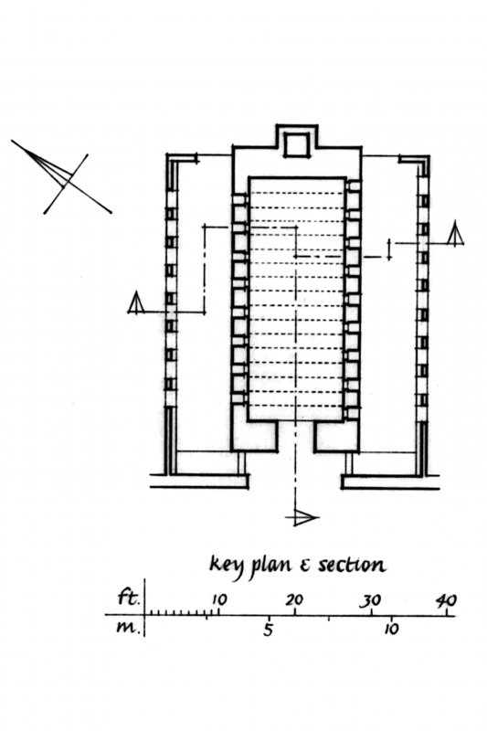 "Cut-away axonometric drawing of kiln, Key Plan and Section Insc. ""GDH""   u.d."