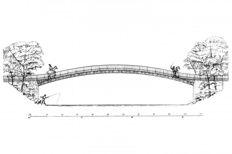 Photograph of drawing showing elevation and details of arch spandrel, arch soffit and joint between arch and cross ribs. Insc.: 'Duchess Bridge, Langholm, Dumfriesshire.  GDH 20/2/86.'