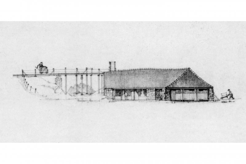 "Photograph of drawing showing East Elevation of drying shed, View from South East, South Elevation and Section, and Plan of Drying Shed Insc. ""Geoffrey D Hay, 1975"""