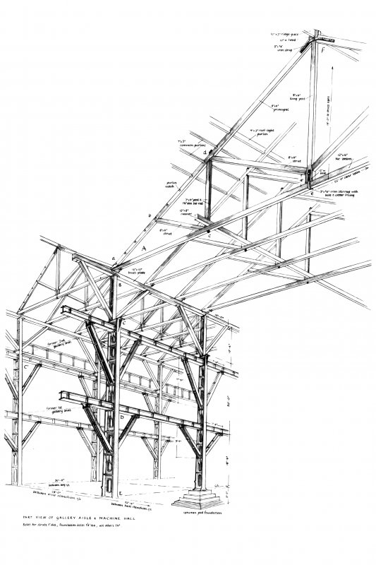Glasgow, Govan, Fairfield Shipbuilding and Engine Works Composite drawing of roof truss, sanchions and view of gallery. Insc: 'Rear view of Stanchion Head and Gantry Stage'  'A Roof Truss Details'  'Part View of Gallery Aisle & Machine Hall'  'Stanchion Base' 'Gantry Stage and Struts' 'GDH'.