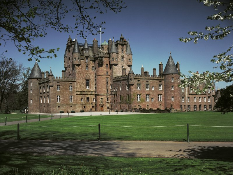 Glamis Castle. General view from avenue showing entrance from South West.