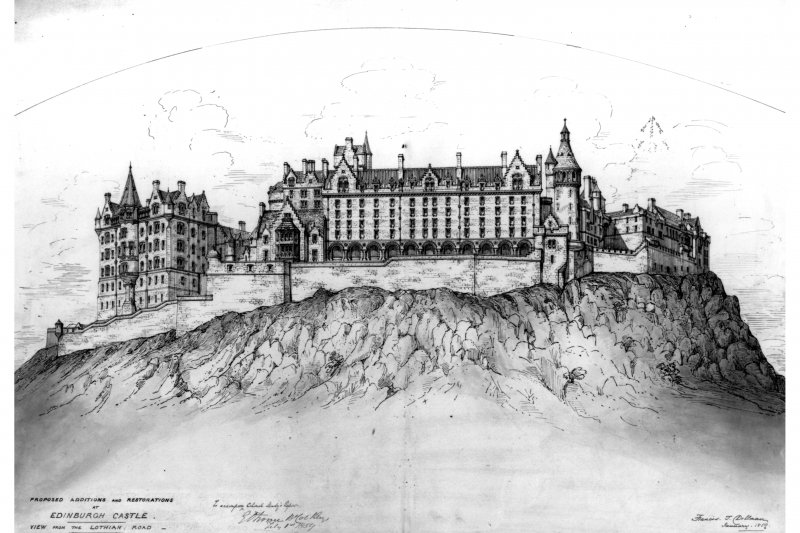 Proposed additions and restorations to Edinburgh Castle viewed from Lothian Road, Edinburgh.