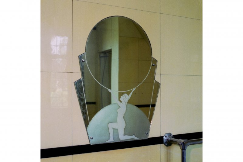 Interior. Detail of Art Deco mirror in North-West bathroom.