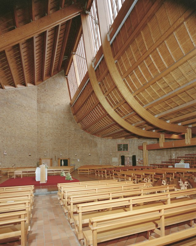 Glasgow, 60 Drumchapel Road, St. Benedicts R.C. Church. Interior-general view from West showing unusual shaped ceiling.