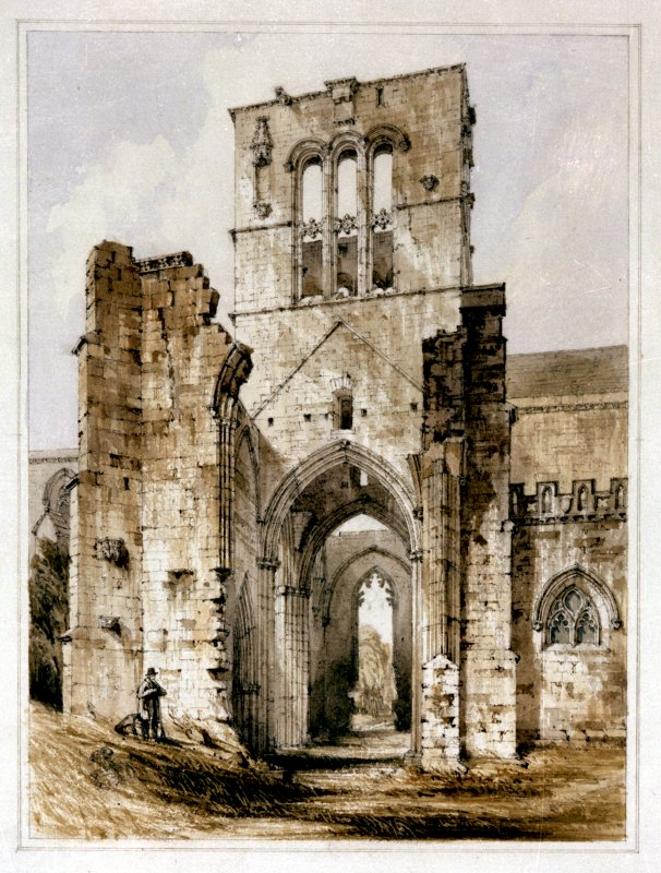 Perspective view of St Mary's Church, Haddington Photograph of watercolour, by R Billings Preparatory drawing for the engraving which was published in 'The Baronial and Ecclesiastical Antiquities of Scotland', R W Billings, 1852