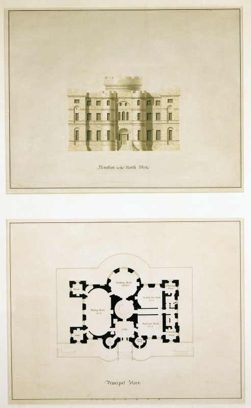 Composite photograph of drawings showing Elevation to the North West (AYD/70/33) and Plan of Principal Floor (AYD/70/37) u.s.   u.d. Student drawings by W H Playfair
