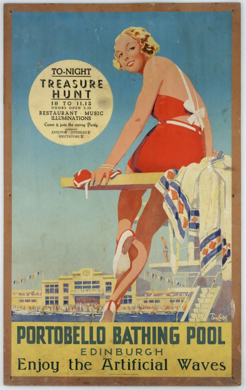 Poster titled: 'Portobello Bathing Pool, Edinburgh. Enjoy the artificial waves' for the open air swimming pool, Rosebank Lane, Portobello, Edinburgh.
