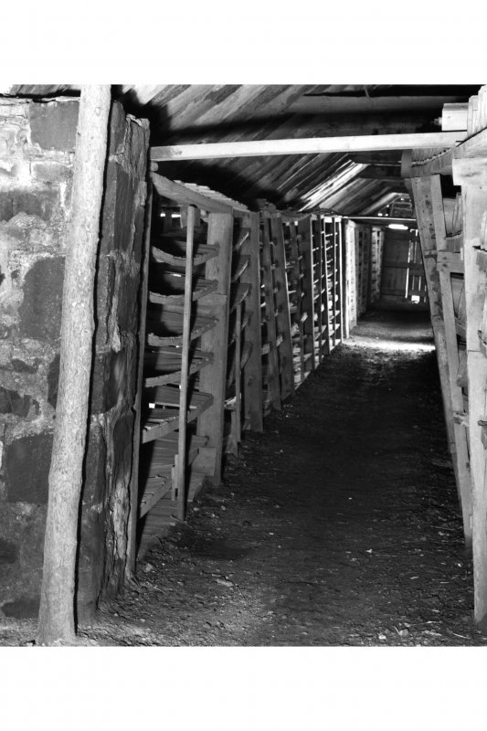 Interior. General view of side aisle on NW side of drying shed