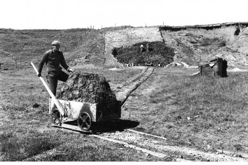 Detail of wagon on turntable on mineral railway, Blackpots brick and tile works, in 1971.