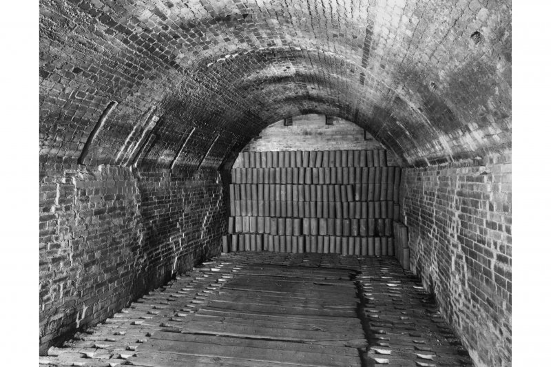 Interior. General view of vaulted interior of kiln from W.