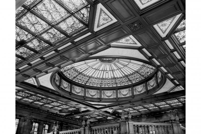 The Booking Hall at Waverley Station, Edinburgh, with a  general view of the roof and cupola.