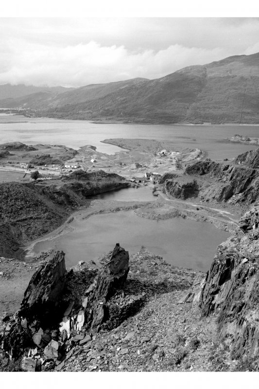 General view of Ballachulish slate quarries from above.
