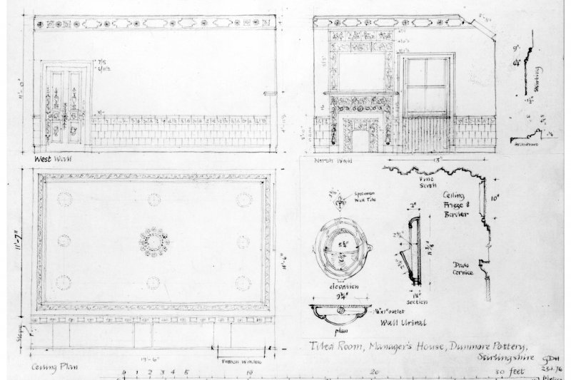 Elevations, ceiling plan and details.