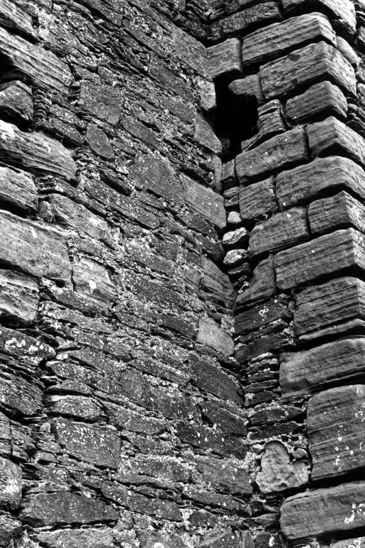 Detail of South West re-entrant angle of Gatehouse, showing arrow slit at first floor level