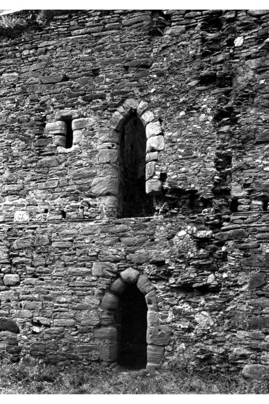 General view of doorways to latrine tower in interior of West curtain wall