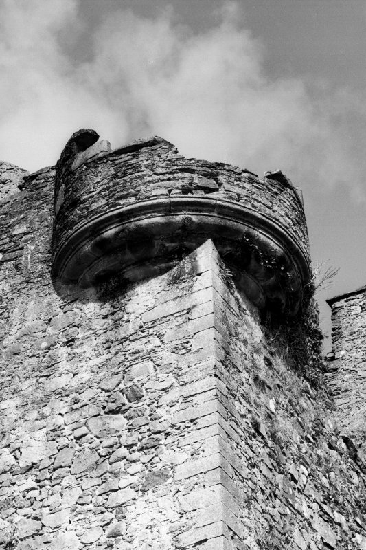 Detail of South East angle turret of tower house from South East Pl. 72C