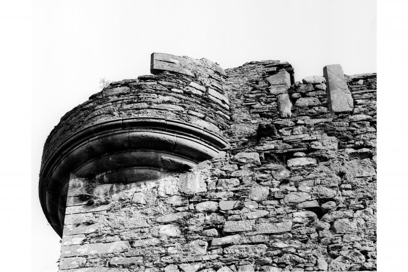 Detail of North East angle turret of tower house from North West Pl. 72B