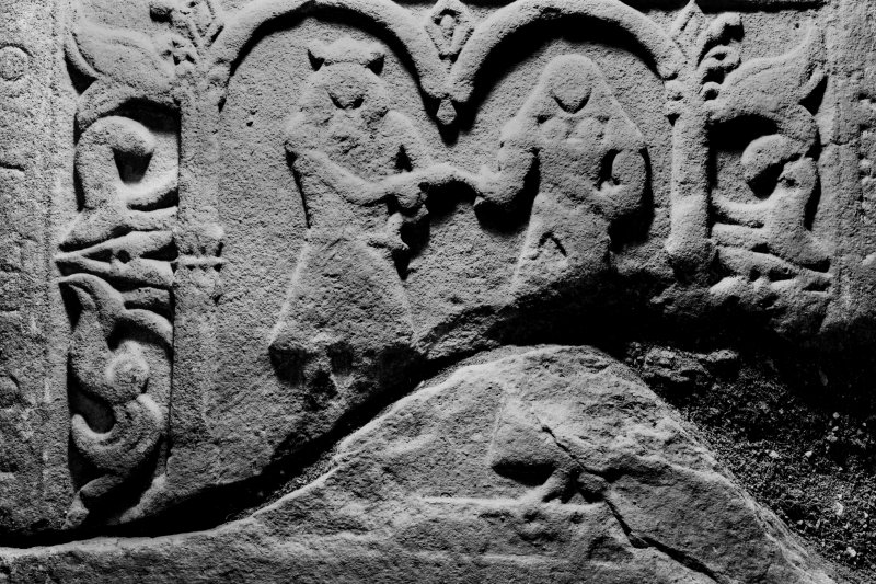 Dunstaffnage Chapel, interior. Detail of recumbent slab.
